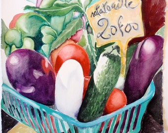 "Handmade Painting, Food Art, Fine Art, Original Art,Watercolor Painting in France: ""Ratatouille"",  Provencal Market, French Farmer's Market"