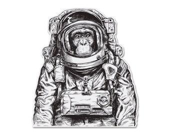 "Space Monkey Bumper Sticker Decal 4.29"""
