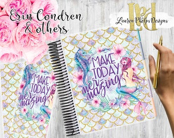 Planner Cover   Laminated 10mil   for use with   Erin Condren   Happy Planner   Summer   Watercolor   Floral   Mermaid  
