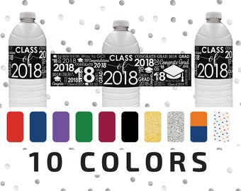 2018 Graduation Party Decorations - Graduation Water Bottle Labels - Class of 2018 Water Bottle Stickers - Waterproof Grad Favors - 24 Count