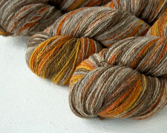 Gradient Aade Long artistic wool, Yarn for knitting, crochet.  Grey-Orange gradient yarn