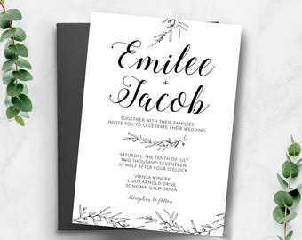 Wedding invitations etsy ca wedding invitation wedding invitation template wedding invitation printable black and white printable invite stopboris Choice Image