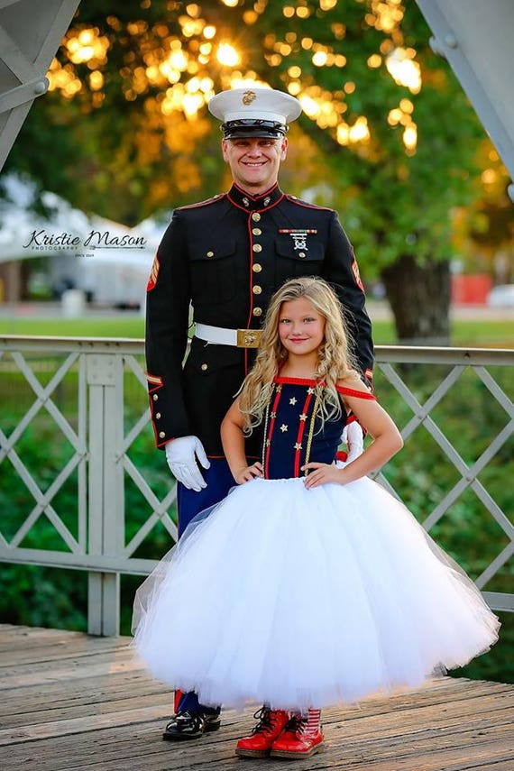 Patriotic Dress Marine Costume Dress Navy Dress White Dress Wedding Dress Toddlers Dress Girls Dress  Fourth of July Dress Pageant Dress