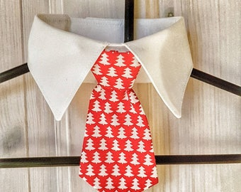 White Dog Shirt Collar with Bowtie or Tie. Christmas fabric