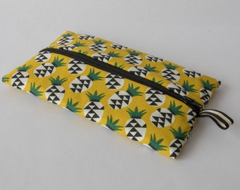 Flat clutch, zipper makeup Kit, printed cotton pineapple motifs