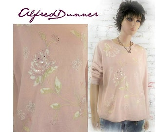 embellished tunic, Applique top - pink sweater - Pullover Jumper , Mori Girl tunic ,Wearable Art Clothing , Artsy top ,  # 7