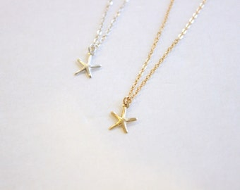 Dainty Starfish Necklace • Sterling Silver or 14k Gold Filled Necklace