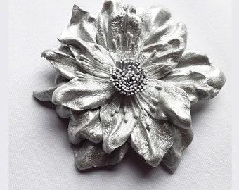 Leather Flower Brooch, silver flower, leather brooch, wedding corsage, flower corsage, flower hair clip, floral brooch, flower pin, (lf25)