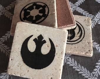 Star Wars - Set of 4 Galactic Stone Coasters (Jedi Order, Rebel Alliance, Galactic Empire, and the Sith Empire)