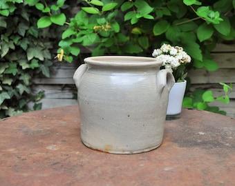 Confit Pot Beige Gray Sandstone / Antique stoneware Jar / Terracotta Pottery / Farmhouse Decor / Utencils Pot / vase / Vintage Gift