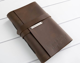 Leather Travel Journal - Personalized Large Journal - Bound Book - Writing Notebook