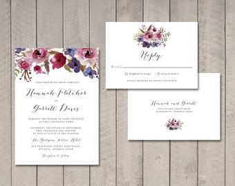 Luxe Floral Wedding Invitation & RSVP Card (Printable) by Vintage Sweet