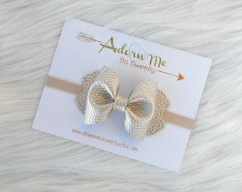 Pearl Gold Faux Leather Bow // 3 sizes // headband or clip