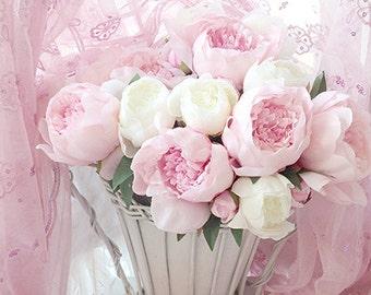 Pink Peonies Photography, Dreamy Basket Pink Peonies, Pink Peony Prints, Pink Peony Photos, Shabby Chic Decor, Romantic Pink Peonies Print