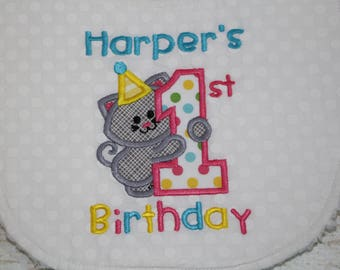 First Birthday Bib Personalized 1st Birthday Baby's 1st Birthday Girl First Birthday Smash Cake Bib Smash Cake Photo Prop 1st Birthday Truck