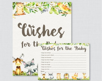 Woodland Animal Wishes for Baby Baby Shower Activity - Printable Well Wishes for Baby Cards and Sign - Instant Download Woodland Wishes 0065