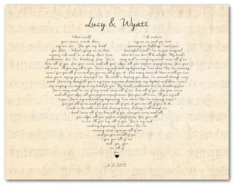 Customized Anniversary, Wedding Gift - Any song lyrics Wall Art - Wedding Song PRINT - First Dance Wedding Vows - unique present for couple