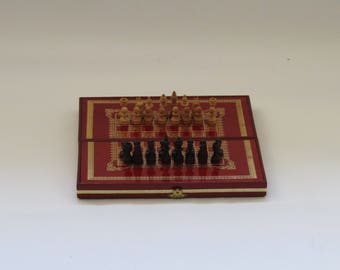 vintage wooden Chess board  & pawns, rare chess set, Vintage chess set,  wooden chess pawns, wooden chess board,  chess set for him.