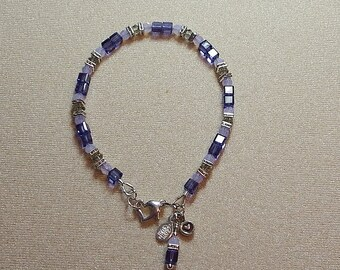 Swarovski Tanzanite and Violet Opal Bracelet with Heart Clasp