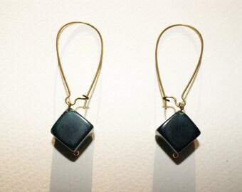Blue glass cube earrings