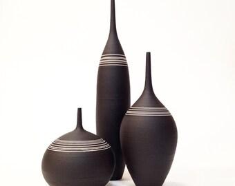 MADE TO ORDER-  3 ceramic stoneware bottle vases by sara paloma. Ceramics and pottery mid century modern stoneware vessel design black white