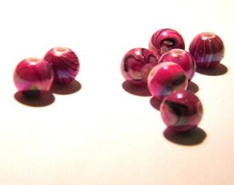 colors-8 mm - fuchsia G175 4 tones wave 40 acrylic beads-8 mm - iridescent round beads