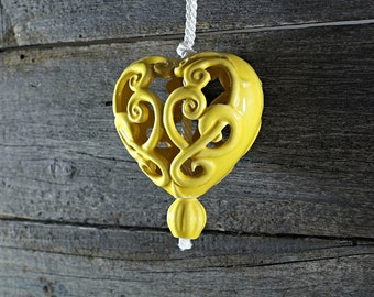 Ceramic carved heart - yellow