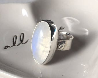 Pretty Feminine Moonstone Adjustable Ring, Sterling Silver, Little Leaf