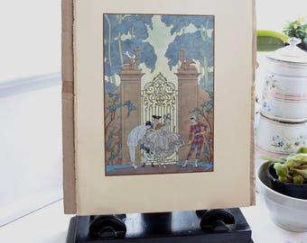 Antique French Print, Pochoir, Georges Barbier, 1920, French Fashion, Romantic poem by Paul Verlaine, Les Fêtes Galantes,  Mothers' Day