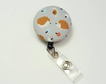 Retactable ID Badge Reel / ID Badge Holder / Name Badge Clip / Badge Pull / Button Badge Holder - Hedgehogs on Gray