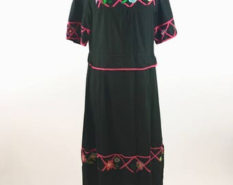 Mexican Embroidered Dress - Vintage Peasant Dress - Floral Dress - Boho - Hippie - Festival Dress - Floral Embroidered Black Maxi Dress