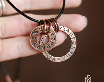 Unstoppable Adventurer phrase jewelry - Copper circle necklace gift for women - Recycled copper pendant