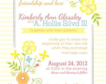 Yellow Floral Wedding Invites, Floral Wedding Invitation, Tropical Floral Wedding Invitations