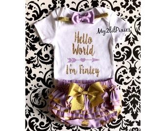 Baby Girl Take home outfit, ruffle Bloomer, Onesie Headband set- Hello World Personalized Newborn baby Girl Onesie, Newborn baby, purple