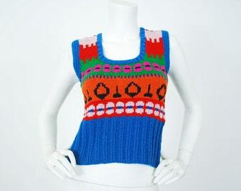 1970's Vintage Women's Hand Made Kitsch Wool Knit Sweater Vest Sz XS-S