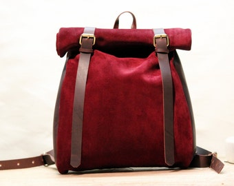 Red Suede/ Oiled leather roll backpack