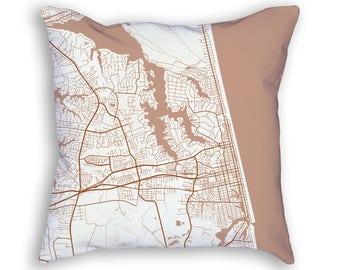 Virginia Beach Virginia City Street Map Throw Pillow