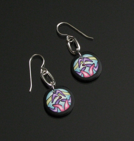 Modern Art Earrings, Unique Psychedelic Earrings, Silver Dangle Earrings, Colorful Contemporary Unique Jewelry Gift for Her, Girlfriend, Mom