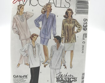 Vintage McCalls 5139 Womens Tunics Scarf Skirt in two Lengths and Pants Size 10 12 14 Uncut Sewing Pattern
