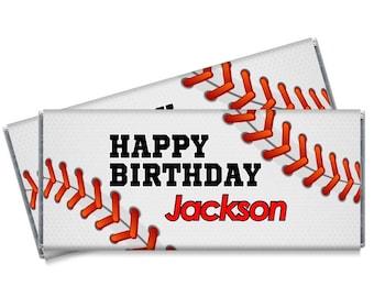 Baseball Candy Bar Wrappers - Baseball Birthday Party Favors - Set of 12 - #IDBB144