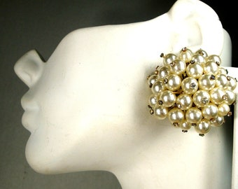 Big Dressy WHITE Pearl Clip Earrings, Rhinestones On Bead Tips, Round Giant Glam Button Earrings, 1960sClusters