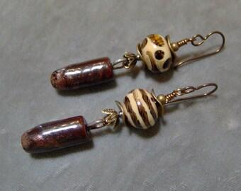 Lampwork and Ceramic Beaded Earrings-Organic Artisan Earrings-Rustic Earrings-Artisan Lampwork Dangle Earrings-SRAJD-Artisan Ceramic Beads