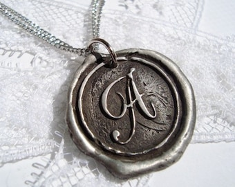 "Darker and more ""antiqued"" Monogram Wax Seal Necklace, letter of your choice"