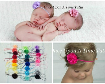 Pick One (1) Satin Tulle Mini Flower Skinny Elastic Headband - Photo Prop Hairbow - Newborn Baby Accessory - Little Girls Hair Bow