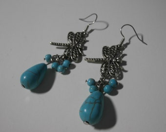 Stunning Firefly Turquoise Gemstone Dangle Earrings- Womens Jewelry, Teen Jewelry, Boho Jewelry, Art Deco Jewelry, Boho Earrings, Jewelry