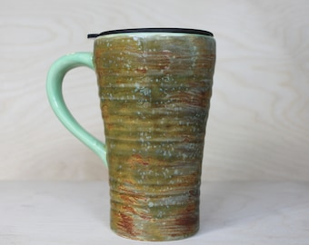 Ceramic Travel Mug - River Moss (with handle and lid)