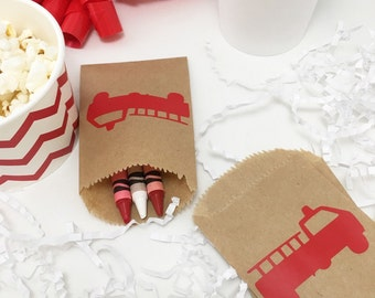 Favor Bags - Firetruck Birthday - Firefighter Birthday - Fireman Party - Firetruck Baby - Party Favors - Treat Bags - Cutlery Bags - Fire