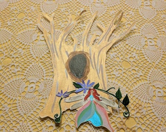 Golden tree with Dragonfly fairy
