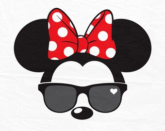 Disney, Minnie, Mouse, Ray-Ban Sunglasses, Icon, Head, Ears, Digital, Download, TShirt, Cut File, SVG, Iron on, Transfer