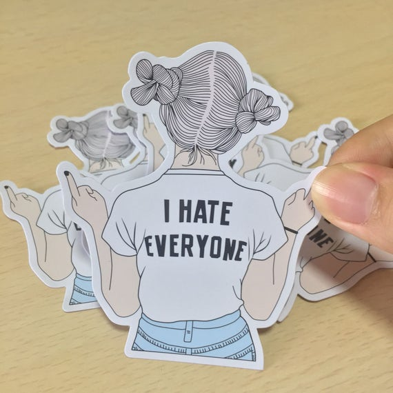 Brandy melville i hate everyone t shirt sticker from koailoft on etsy studio